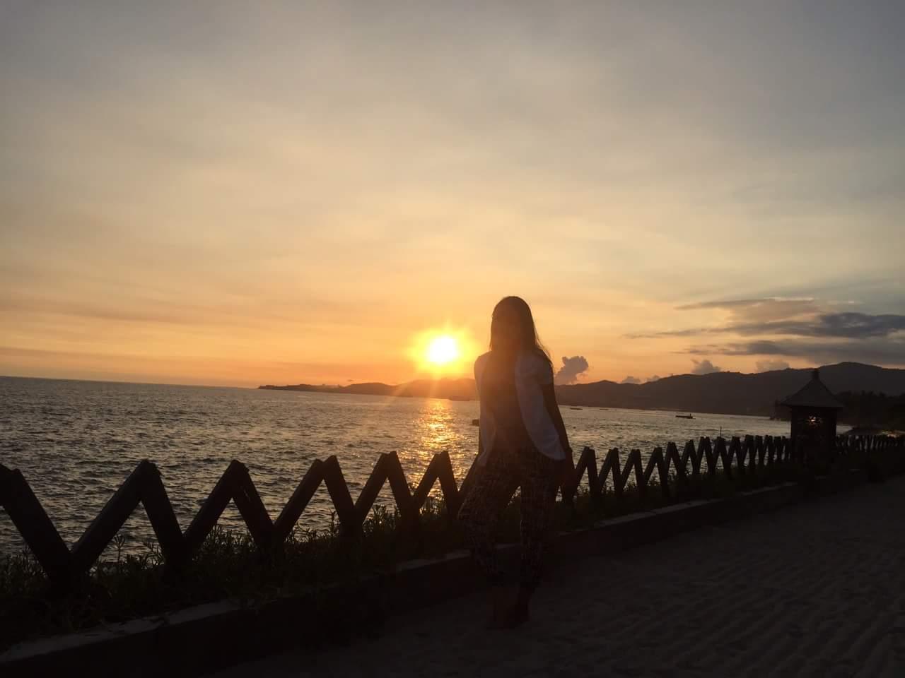 Sunset like a diamond in Bali beach