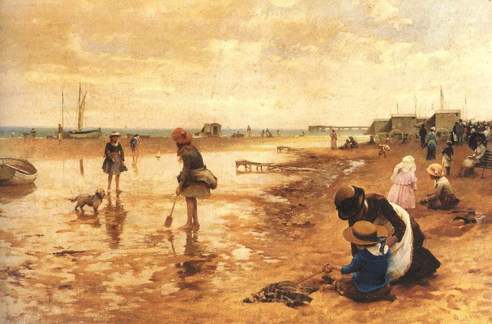 A-day-at-the-seaside-Alfred-Glendening-oil-on-canvas-120cm-x-240cm