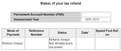 Income Tax Refund status when cheque encashed