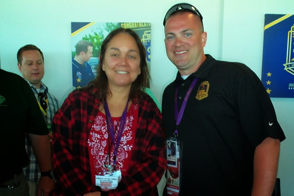 NASCAR Race Mom with 2013 Winner Samuel Deeds in the Pagoda Suite at the Indianapolis Motor Speedway