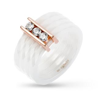 W.KRUK biżuteria z ceramiki biała ceramika na prezent stylowy pierścionek