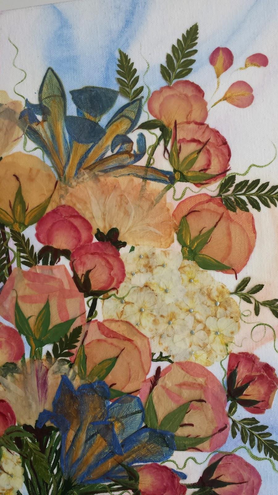 Curlyart wedding flower preservation on canvas amys wedding flower painting izmirmasajfo