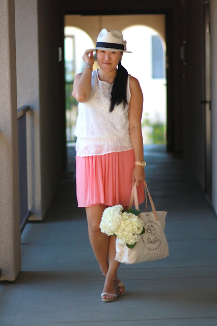 coral, loft, ann taylor, jcrew, summer skirt, rebecca minkoff, chanel pin