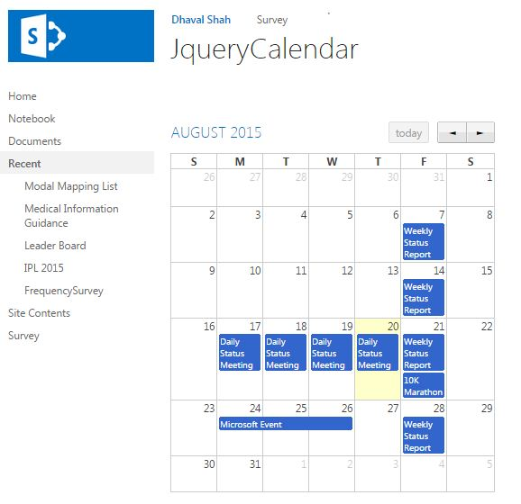Display the Calendar Using Jquery Full Calendar and SharePoint Rest API