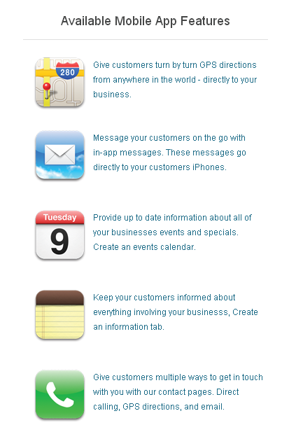 Mobile apps features at Dovetanet Marketing