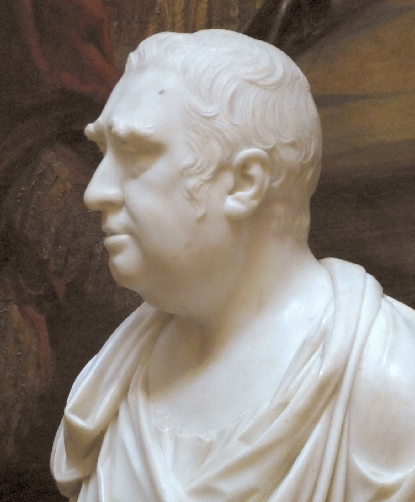 Bust of Charles James Fox  by Joseph Nollekens on display at Chatsworth