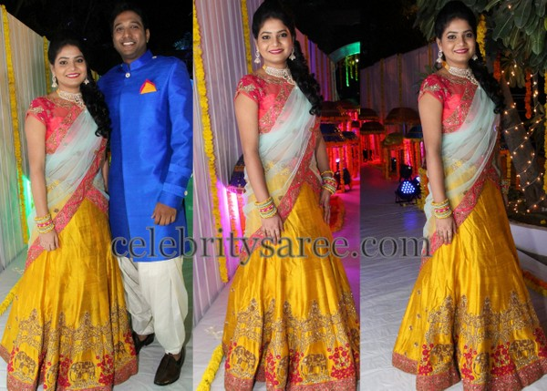 Mustard Work Half Saree