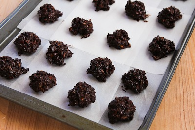 Low-Sugar and Flourless Chocolate Coconut Drops with Almonds found on KalynsKitchen.com