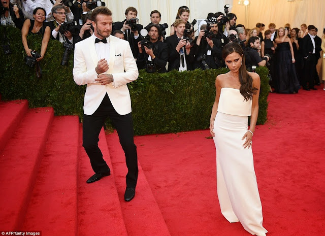 David Beckham wore Ralph Lauren and Victoria Beckham in her own collection at the Met Gala 14.