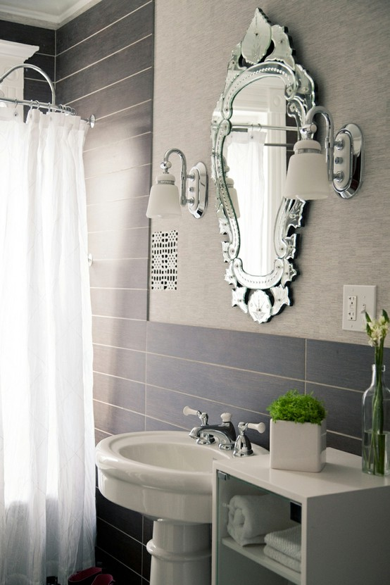 bathroom feminine shower curtain white mirrored mirror gray bathroom