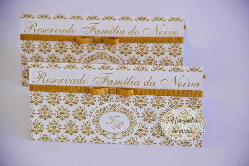 Cartão de reserva de mesa personalizado Um Sonho de Mimo