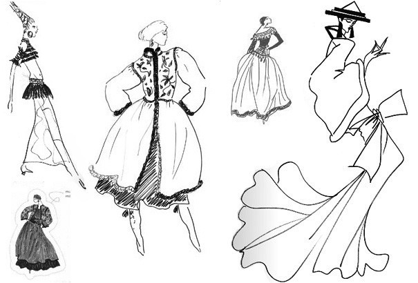 ysl dress sketches