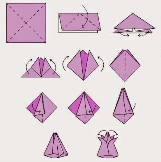 Сборка оригами тюльпан