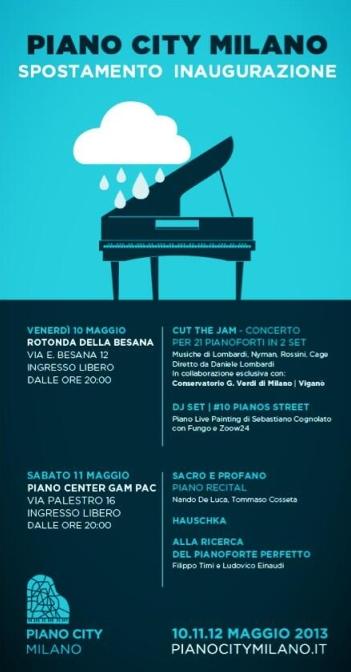 Programma Piano City Milano venerdì 10 e sabato 11 maggio 2013