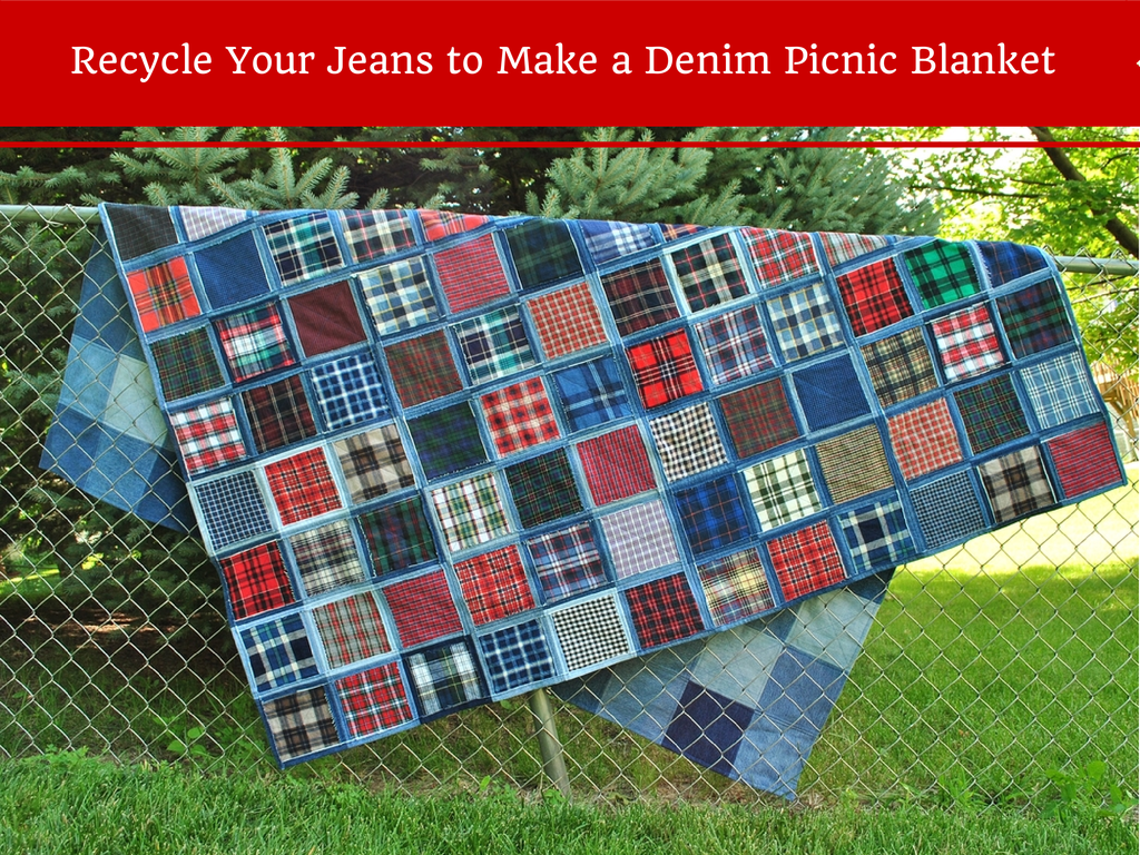 Double nickel quilts recycle your old jeans to make a for What to do with an old quilt