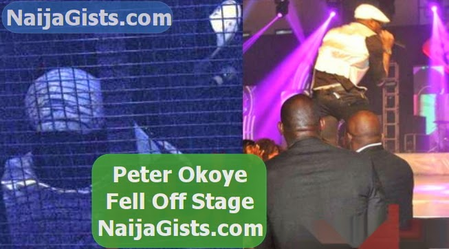 peter okoye fell off stage