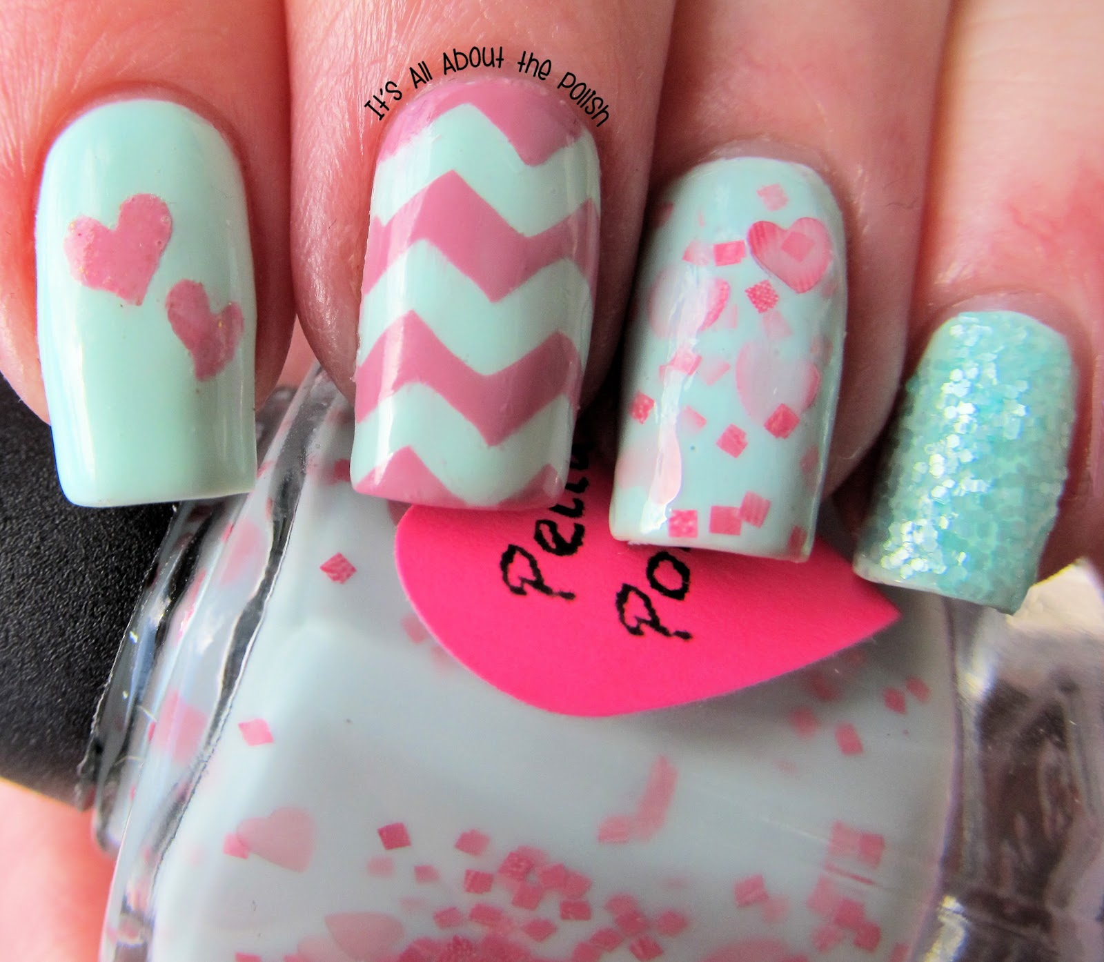It's All About The Polish: Mint Green And Pink Valentine's