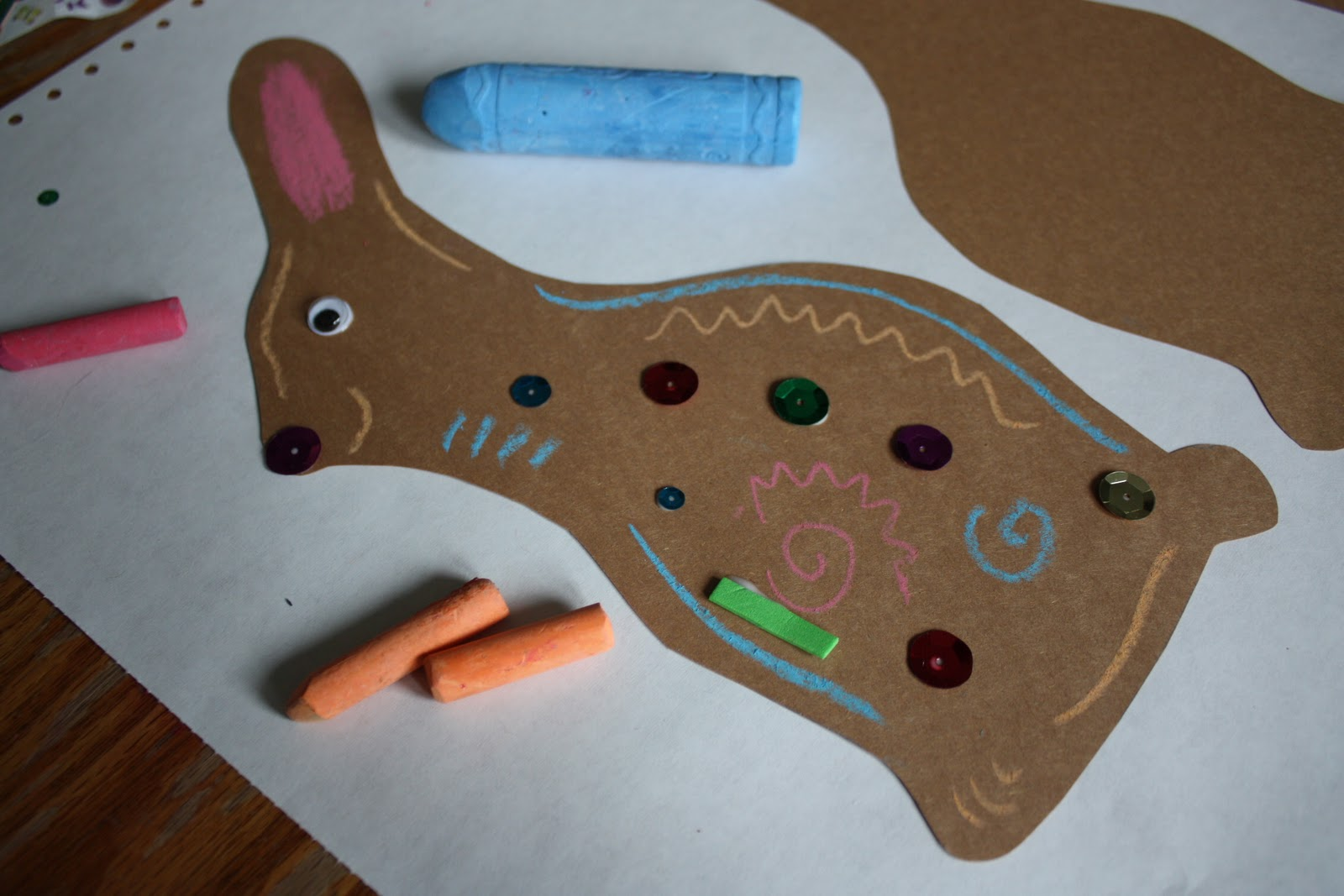 Crafts for a 3 year old - Looking For Something To Both Occupy My 3 Year Old And Add Some Spring Festivity To Our Door We Made Some Paper Chocolate Bunnies Using Construction