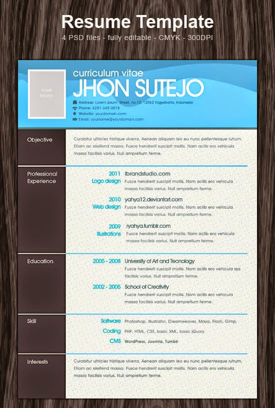 one page pattern resume template psd photoshop resume templates - Photoshop Resume Templates