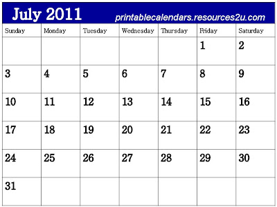 printable calendars july. Calendar 2011 July printable