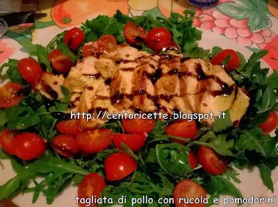 Tagliata di pollo con rucola e pomodorini