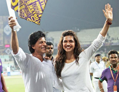 Kolkata Knight Rider owner Shah Rukh Khan and actress Deepika Padukone  Photos