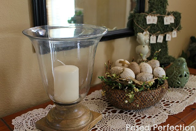 Spring Entryway Table Vignette with Large Hurricane