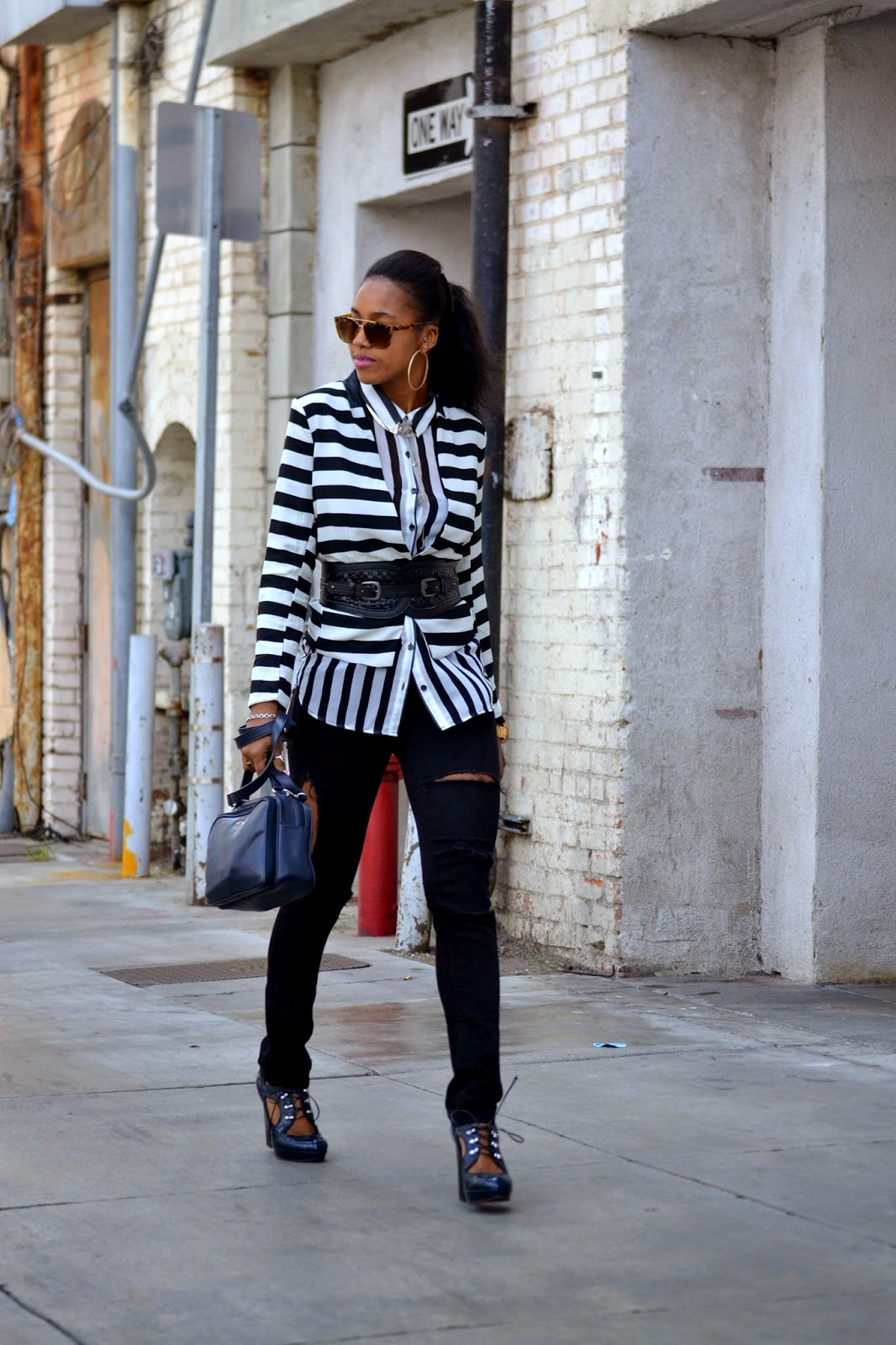 how to wear a striped blazer with DIY destroyed denim