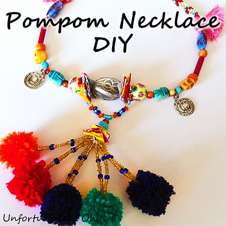 pompom necklace tutorial