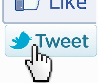 Facebook like and Twitter follow