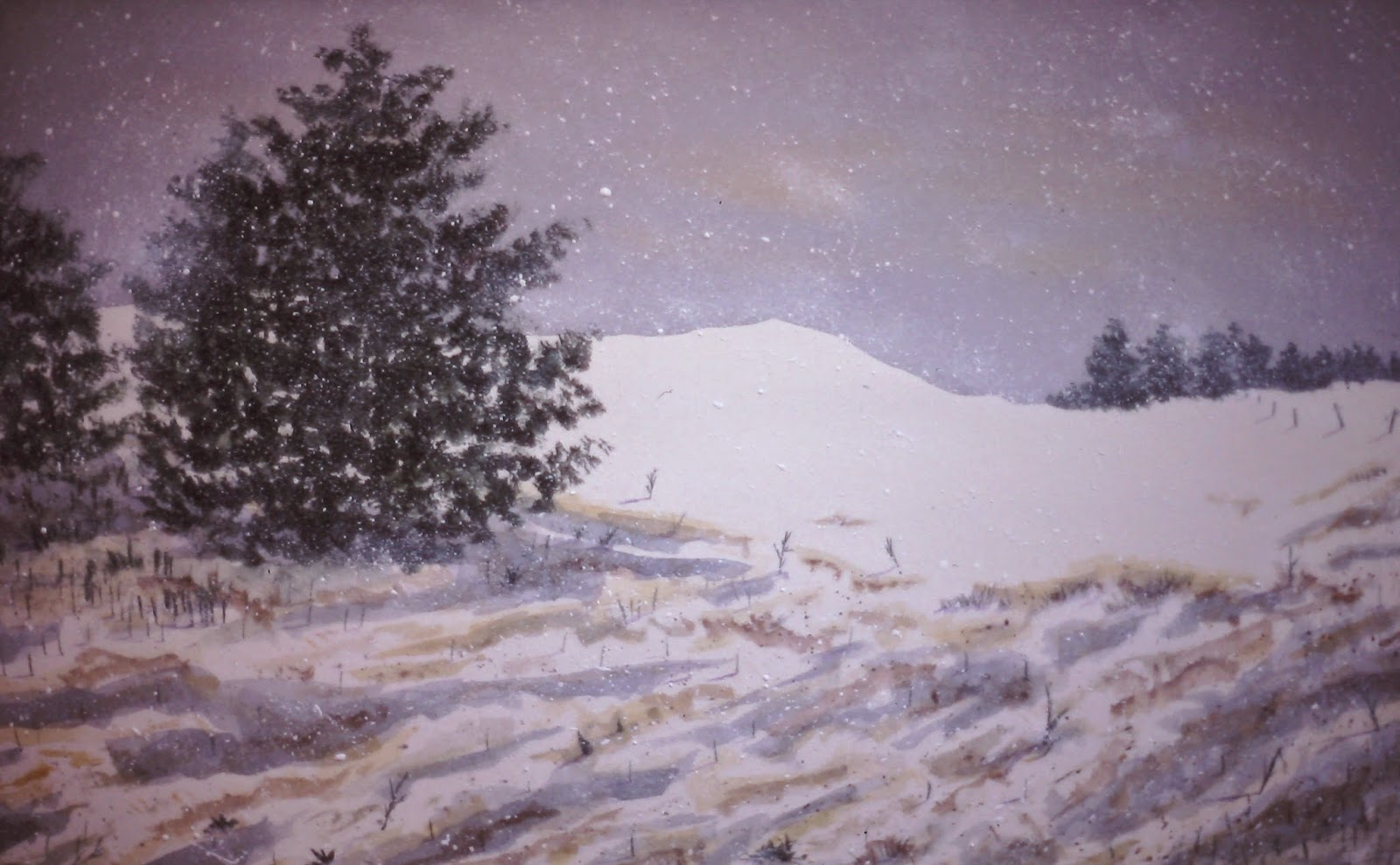 Back Road, near Little Keithock Farmhouse, Trinity, Angus, Scotland  18x36 inches. Watercolor on paper, c. 1990.  In a private collection in San Francisco, California