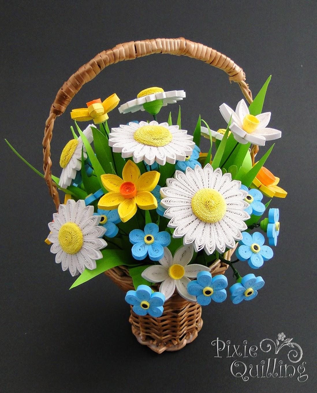 Paprvilg Basket With Quilled Flowers Quilling Virgos Kosr