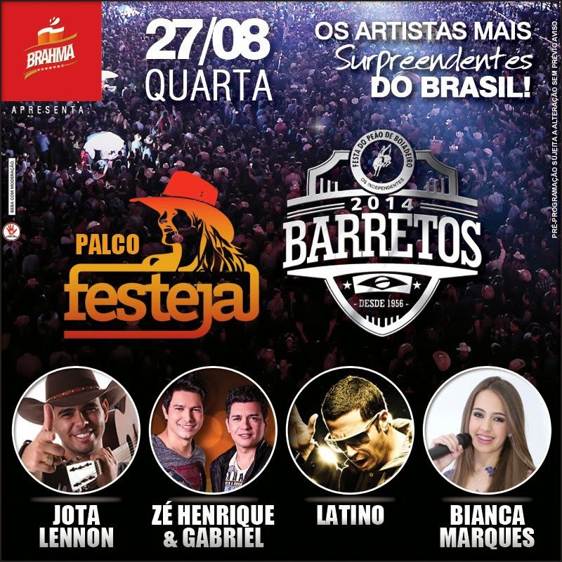Programa��o da 59� Festa do Pe�o de Barretos 2014 - Dia 27/08/2014