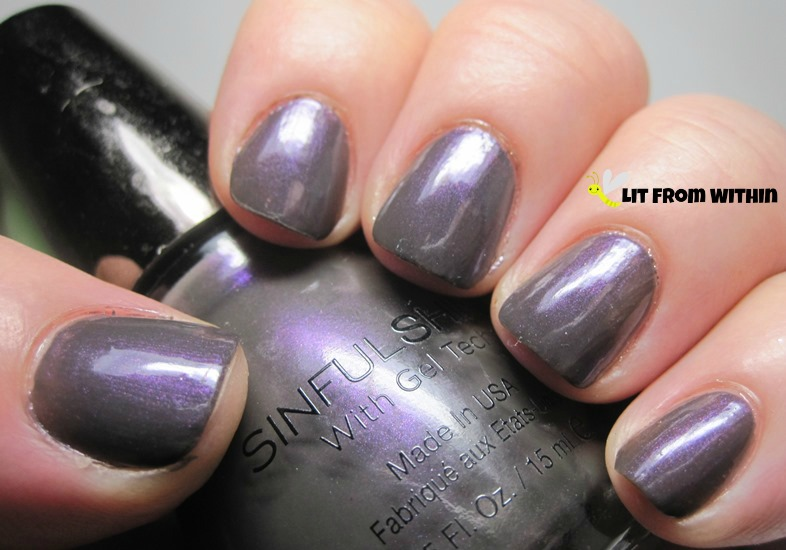 Sinful Colors Who's The Gloss, a grey creme with a heavy purple shimmer