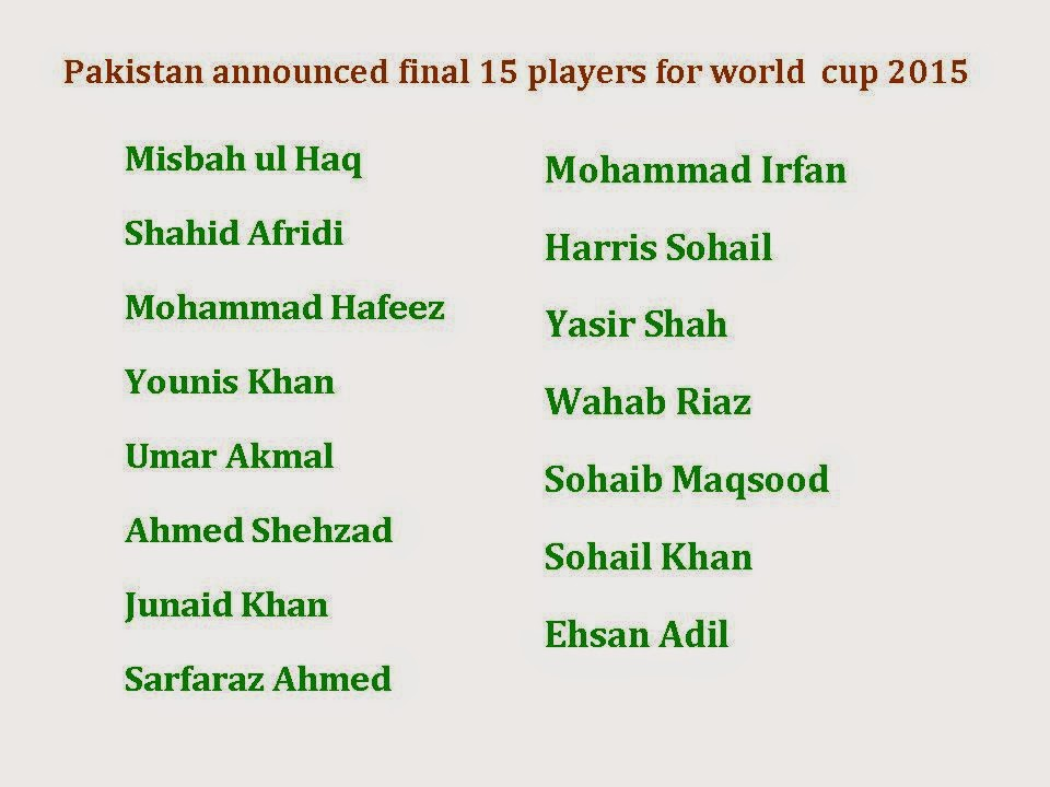 Pakistan Final 15 squad for world cup 2015