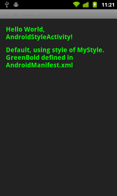 Apply style on whole application/activity as theme