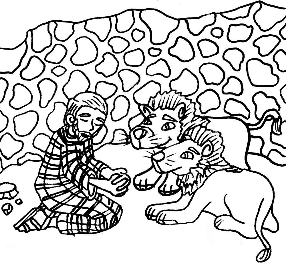 LDSFiles Clipart: Daniel and the Lions Den Coloring Page