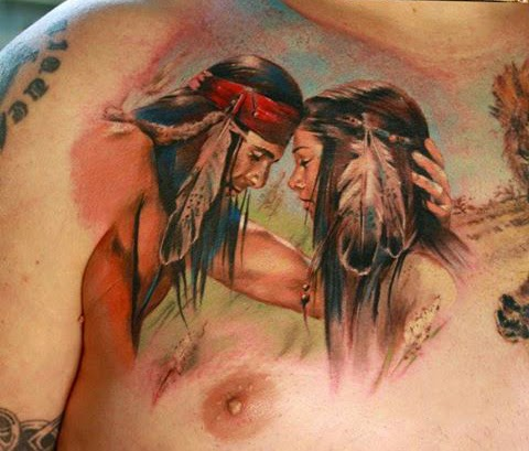 Tatuaje pareja de Indios