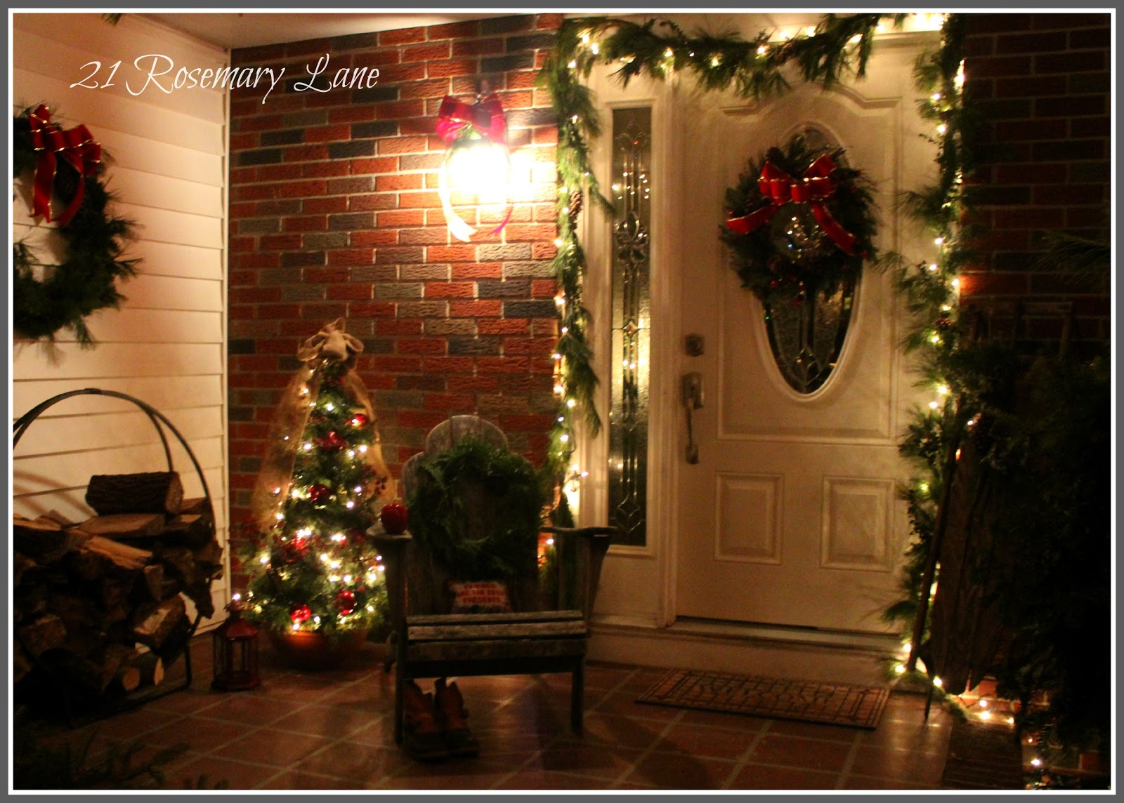 i really am liking the way the chair fills up the porch making it feel a little cozier then i put the pillow i had on my green chair in the entry - Decorating Adirondack Chairs For Christmas