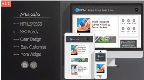 Masala Responsive ad ready Blogger template 2014