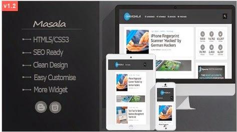 Masala Responsive ad ready Blogger template 2014