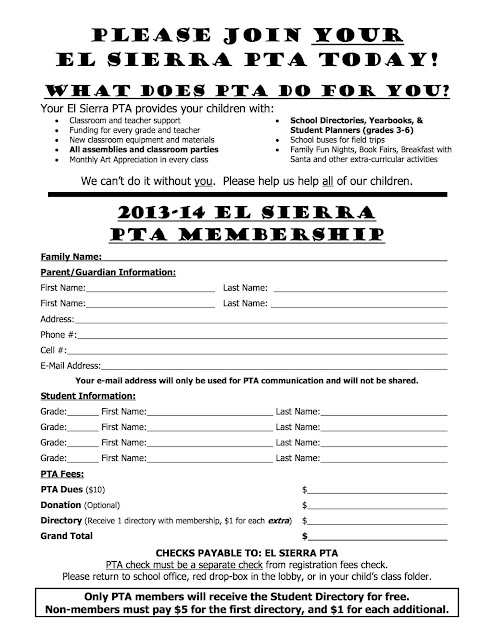 pta membership card template el sierra pta