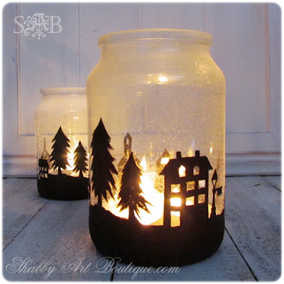 DIY Christmas township candle