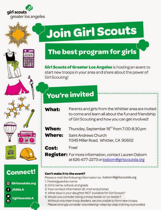 Montebello mom join girl scouts informational meeting for Girl scout calendar template