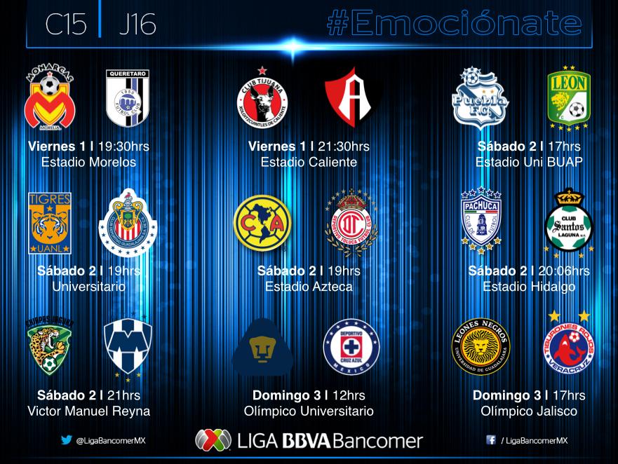 Partidos Liga MX Jornada 16