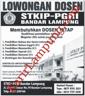 Lowongan Dosen STKIP-PGRI Bandar Lampung Terbaru November 2012