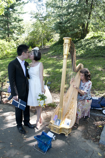 Couple stops at a harp player in Central Park after Central Park Wedding