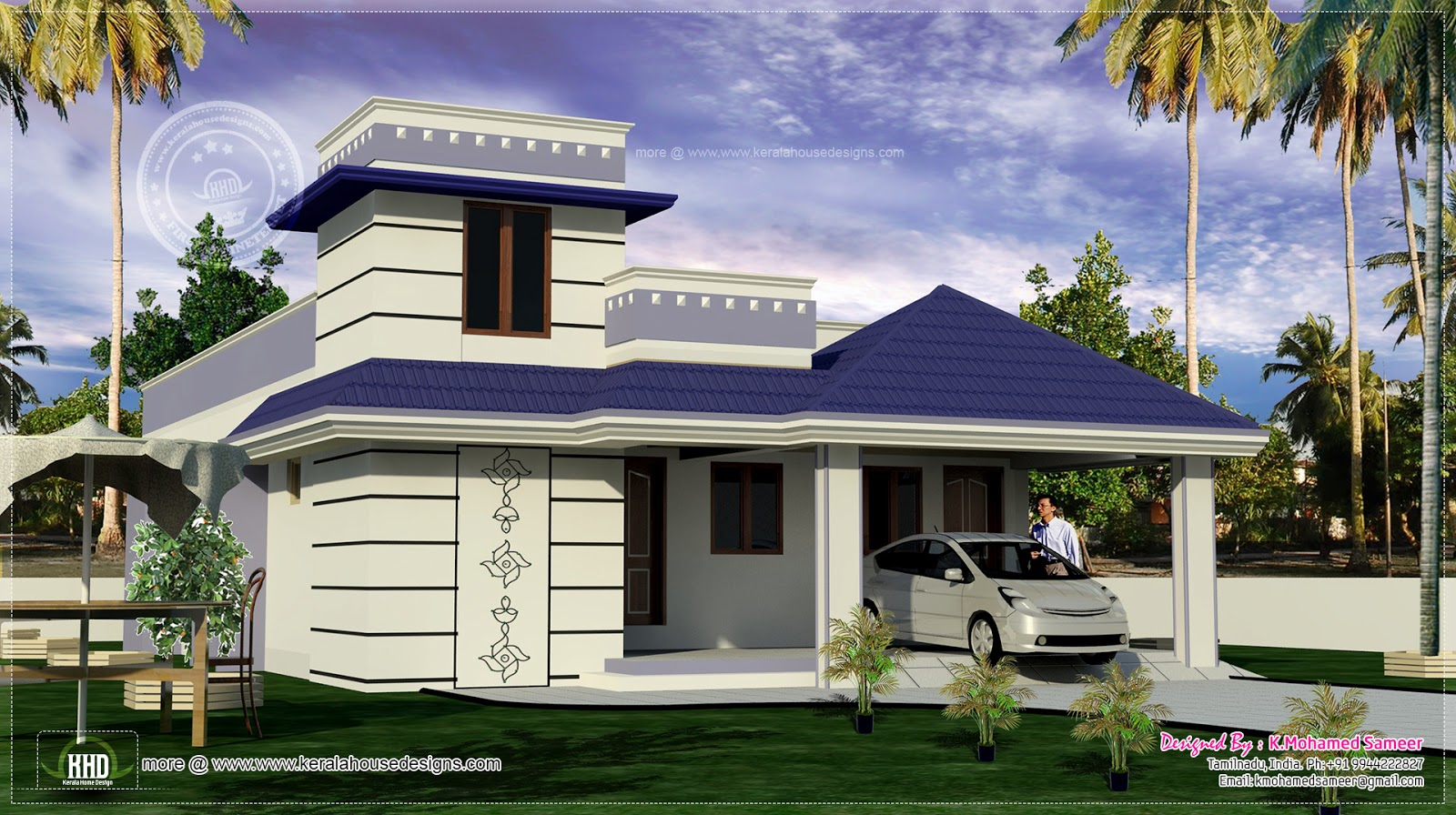 1700 one floor for south indian home kerala home for Tamilnadu house models