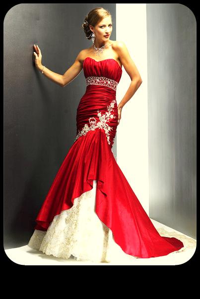 Vestido novia color rojo