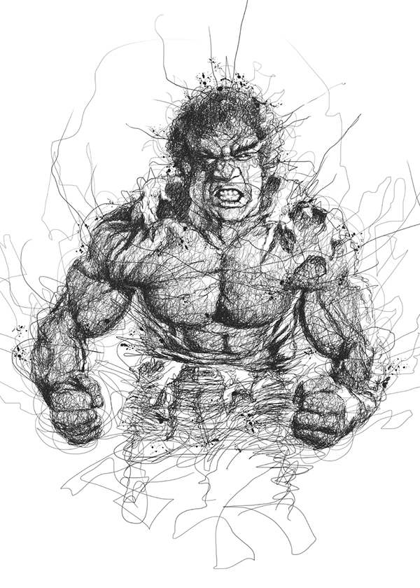 05-The Hulk - Lou Ferrigno-Vince-Low-Scribble-Drawing-Portraits-Super-Heroes-and-More-www-designstack-co